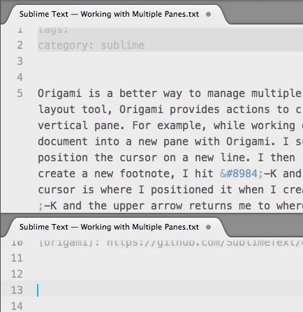 Sublime Text — Working with Multiple Panes
