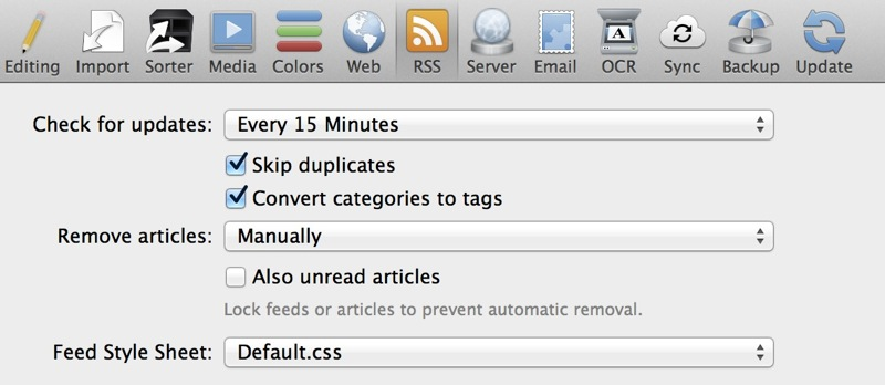 RSS Settings