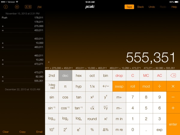 PCalc the beautiful and functional calculator