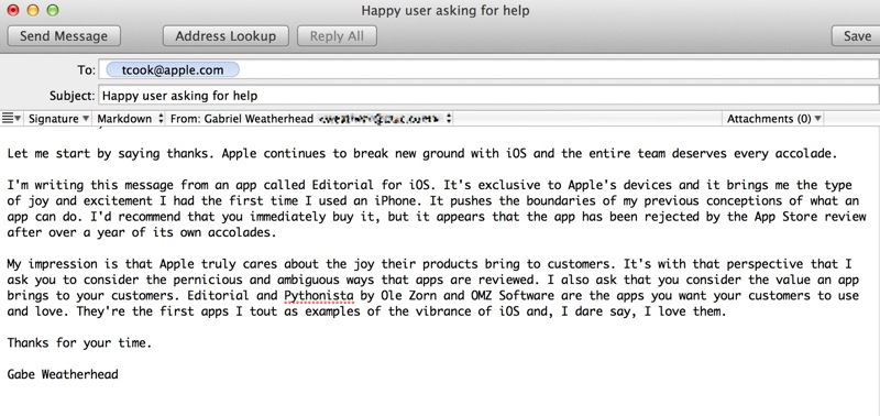 Editorial, Pythonista and the App Store