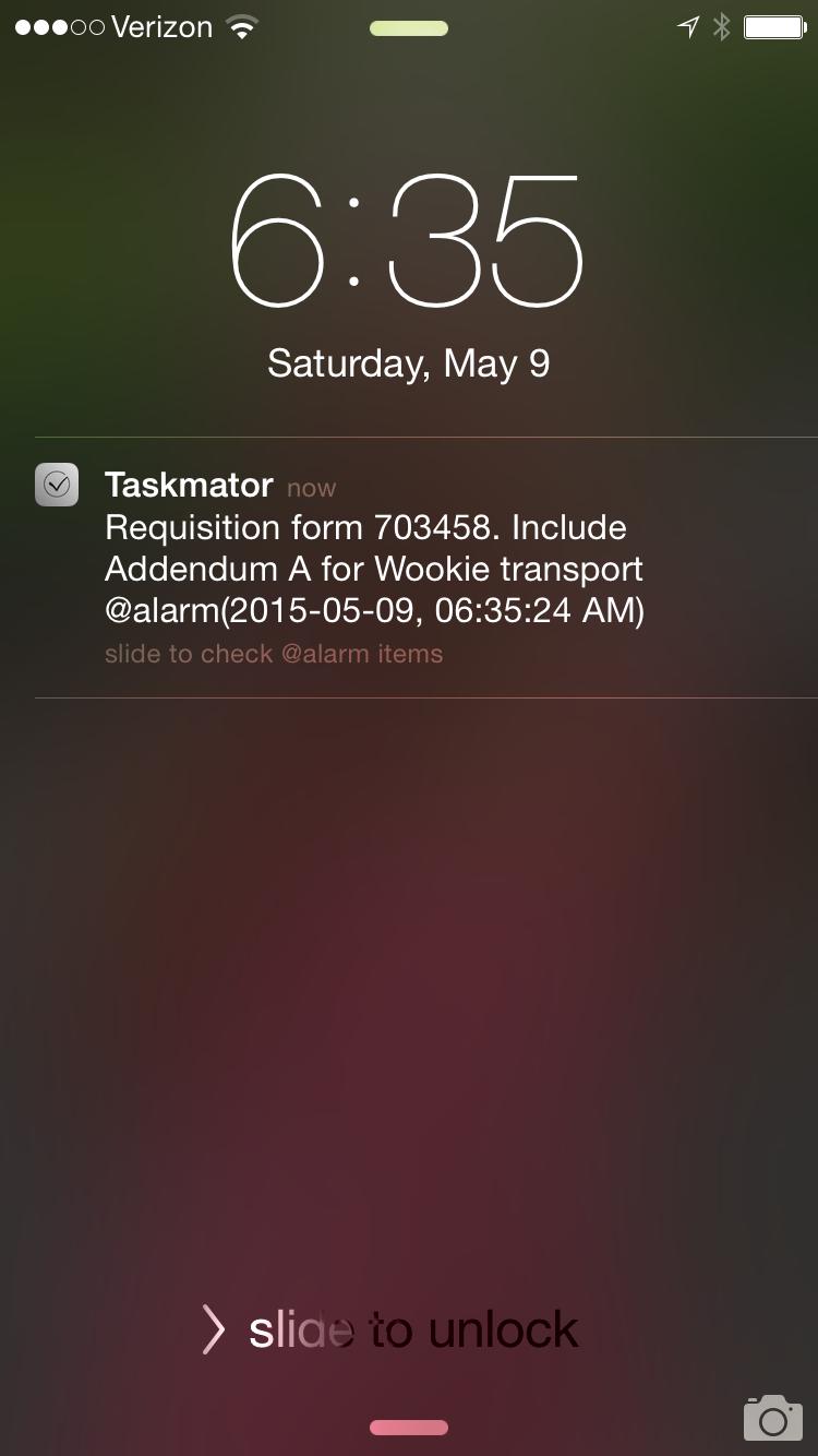 Notification in Taskmator