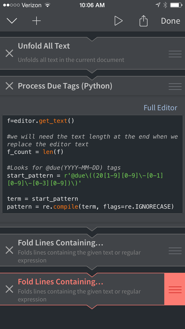 Processing Due Tags