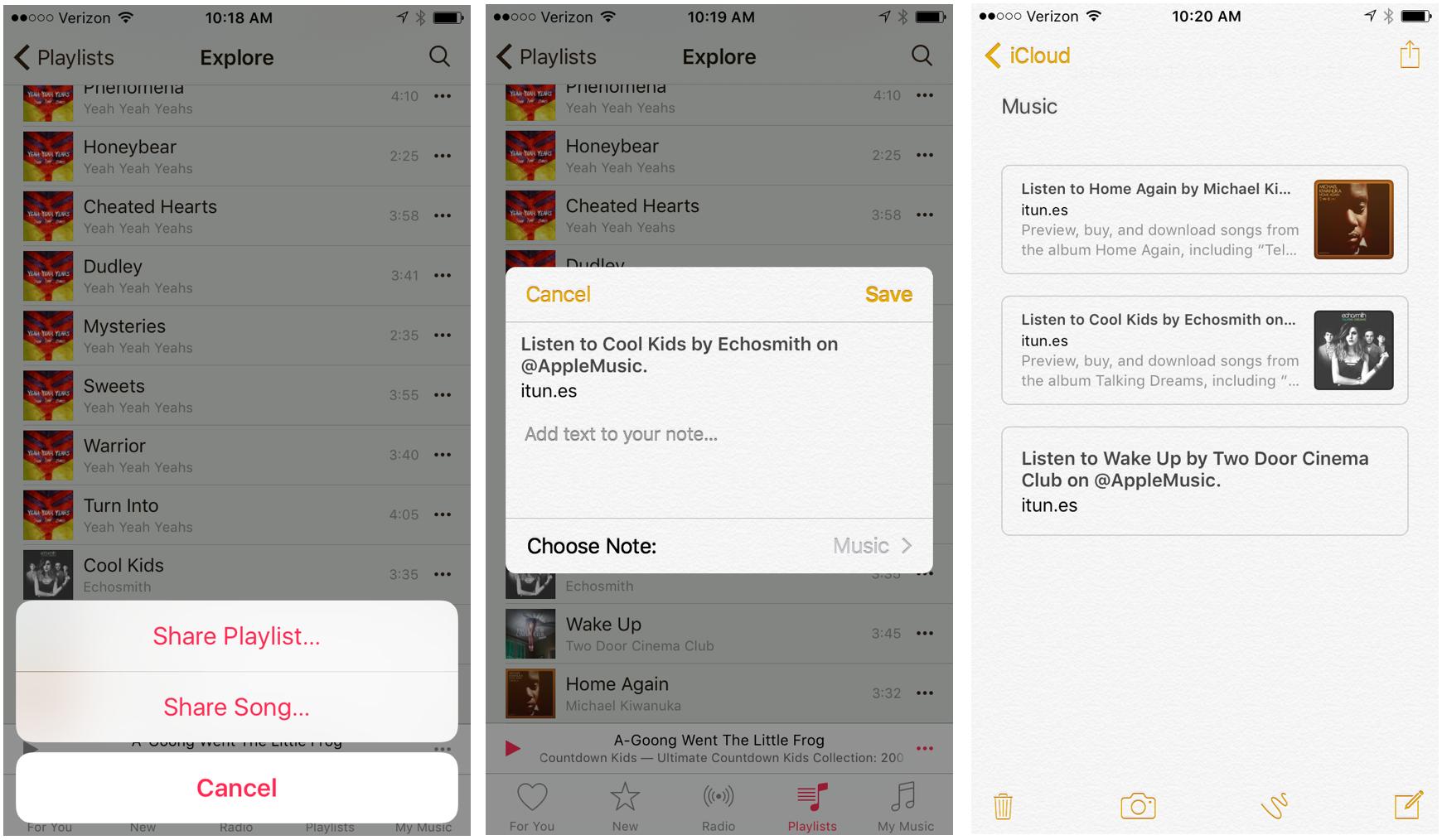 Music app notes