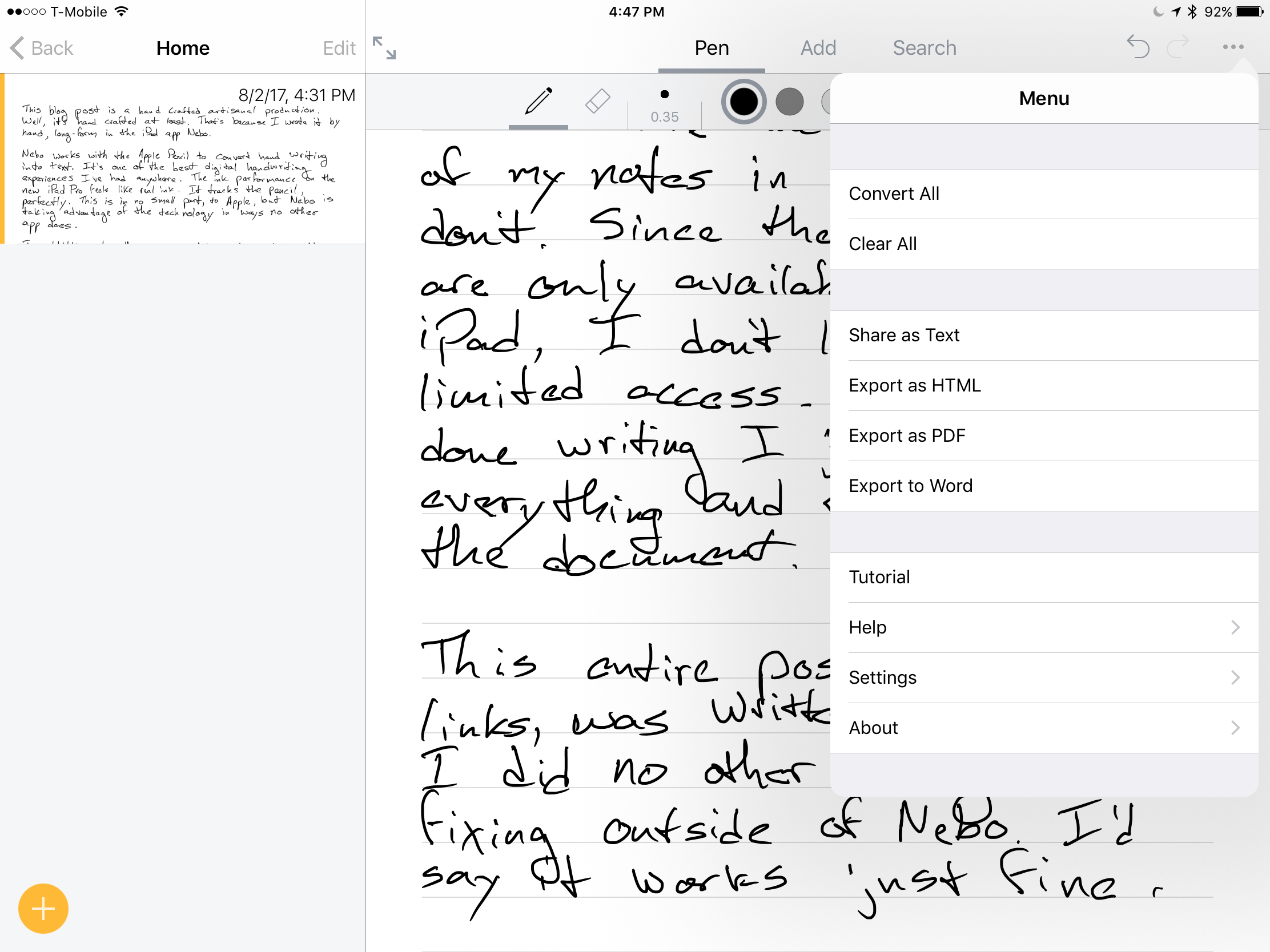 Taking Notes with Nebo on an iPad