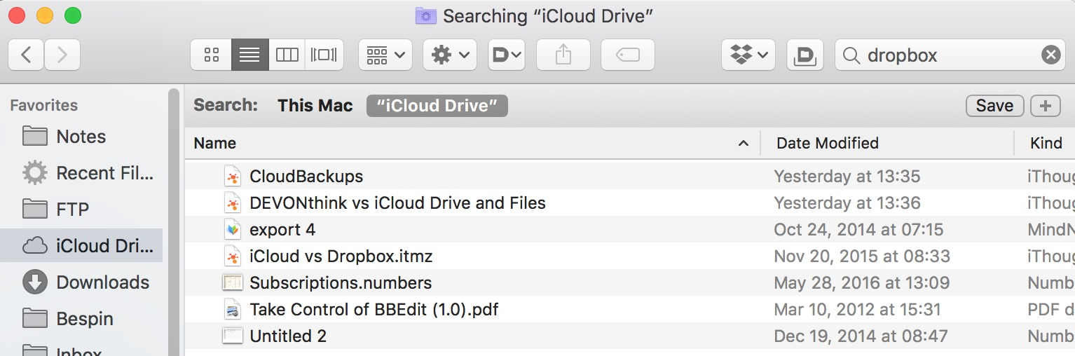 iCloud Content Search on Mac